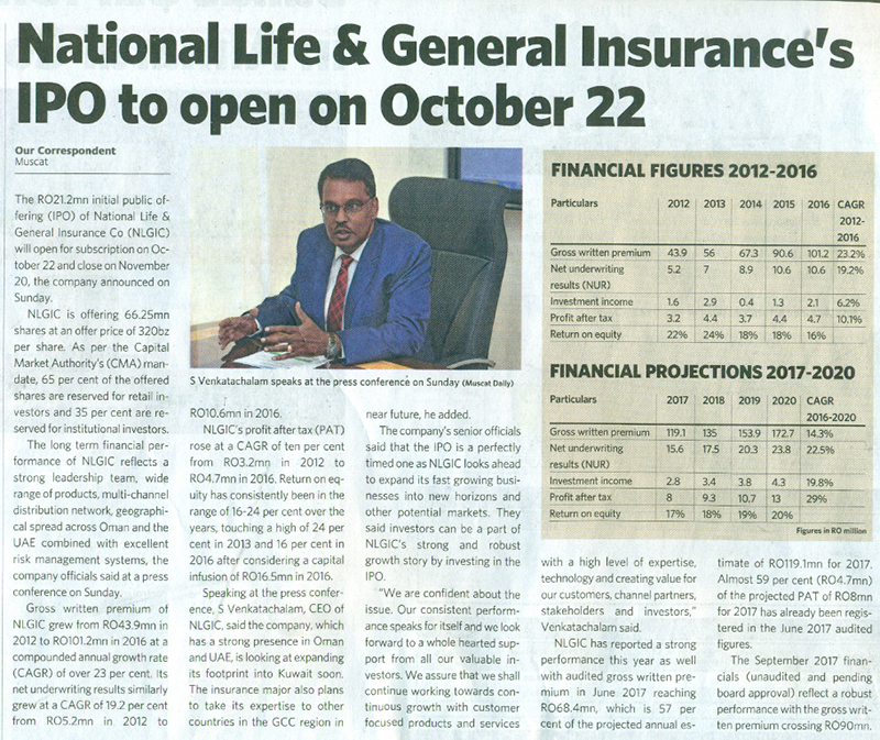 National Life & General Insurance's IPO to open on October 22. 16 Oct 2017 3