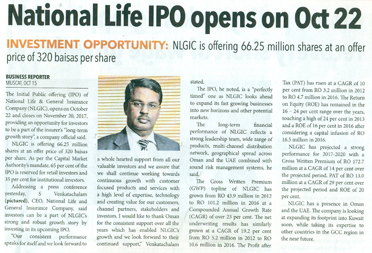 National Life & General Insurance's IPO to open on October 22. 16 Oct 2017 1
