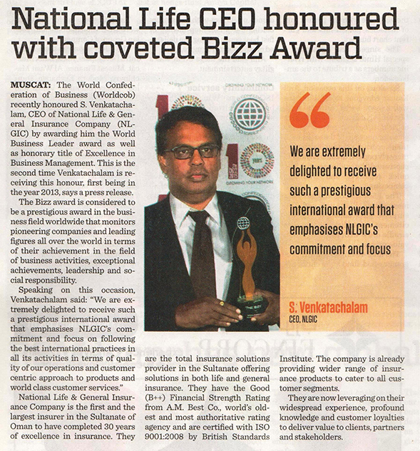 National Life CEO honoured with coveted Bizz Award. 29 Oct 2015 1
