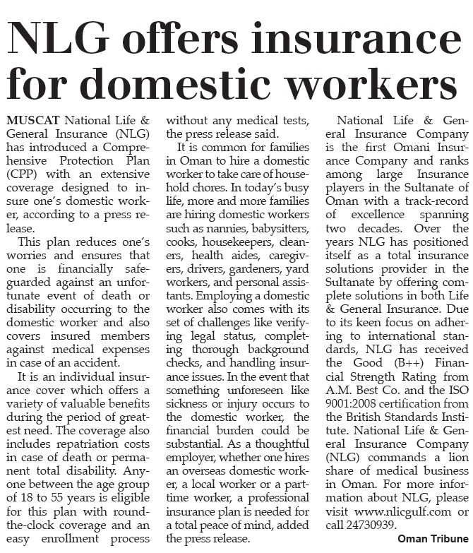 NLGIC offers insurance for domestic workers. 4 Aug 2014 1