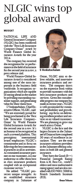 NLGIC wins top global award. 28 Dec 2014 1