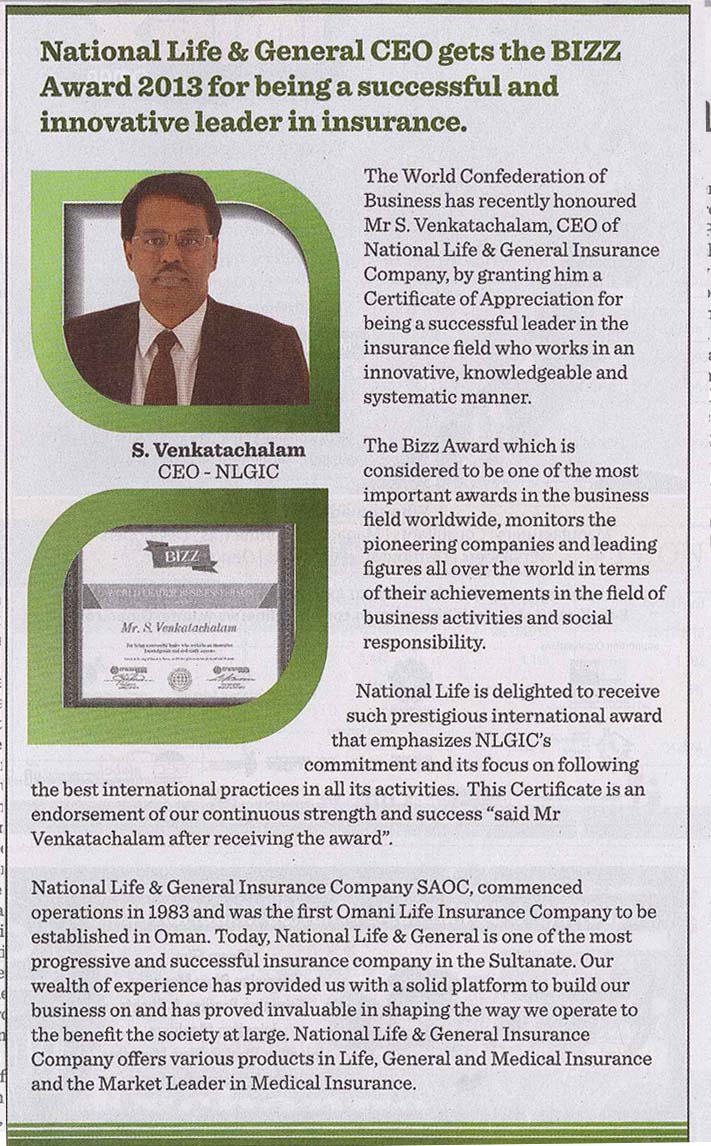 National Life & General Insurance CEO gets The BIZZ Award 2013. 03 November 2013 1