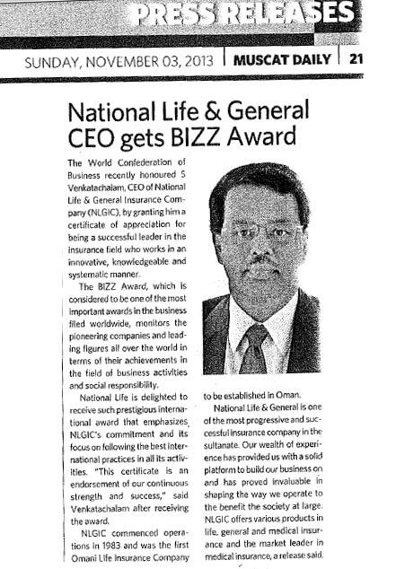 National Life & General Insurance CEO gets The BIZZ Award 2013. 03 November 2013 2