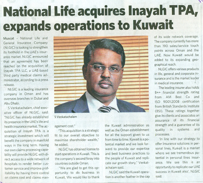 National Life acquires Inayah TPA,expands operations to Kuwait 05 Nov 2018 1