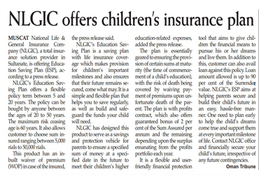 NLGIC offers children's insurance plan. 13 Aug 2014 1