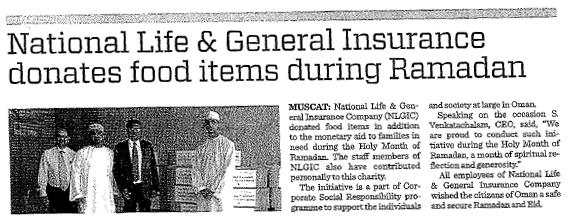 National Life & General Donates food items during ramadan. 28   Aug 2013 1